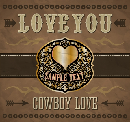 Love you - Cowboy love - belt buckle - vector valentines day vintage card  Vector