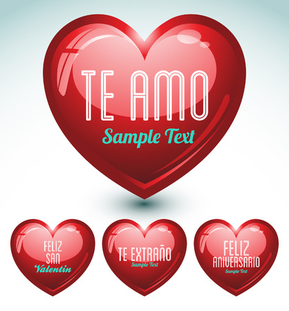 set of hearts and love messages in spanish language - ideal for celebrations, holidays, wedding and valentines day