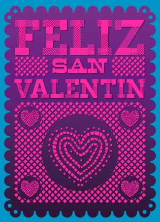 san valentin: Vintage Feliz San Valentin - Happy Valentines day spanish text - latin decoration