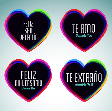 Set of hearts and love messages in spanish language - ideal for celebrations, holidays, wedding and valentines day Vector