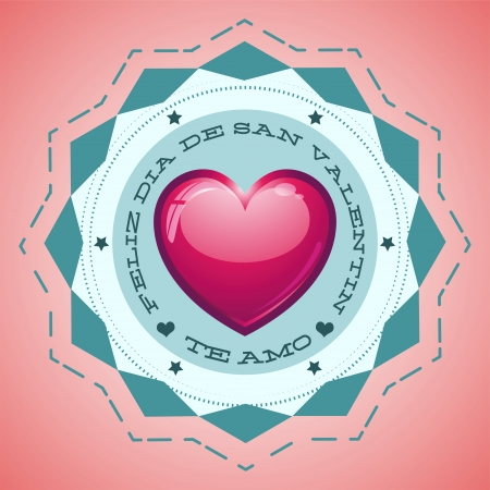 san valentin: Feliz Dia de San Valentin - Happy Valentines day spanish text - Greeting Card - vector illustration - love heart