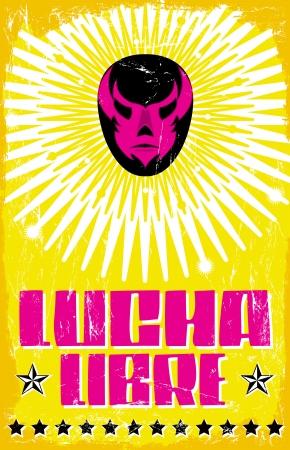 traje mexicano: Lucha Libre - luchando texto español - máscara de luchador mexicano - cartel
