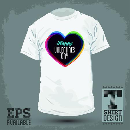 t shirt print: Gr�fico dise�o de la camiseta - feliz d�a de San Valent�n - ilustraci�n vectorial - camisa de la impresi�n Vectores