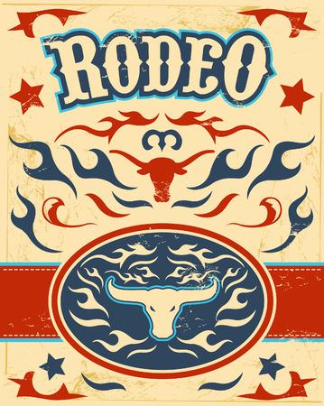 Vintage Rodeo poster - longhorn schedel -snaar gesp - texas kleuren Stock Illustratie