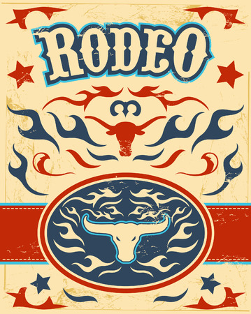 Vintage Rodeo poster - longhorn skull -belt buckle - texas colors