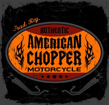 t shirt print: Insignia de American Chopper Motorcycle - tarjeta - t - Dise�o impresi�n de la camisa Vectores