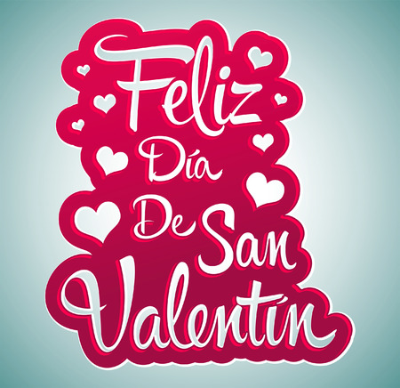 san valentin: Feliz Dia de San Valentin - Happy Valentines day spanish text - peeling sticker - vector Illustration