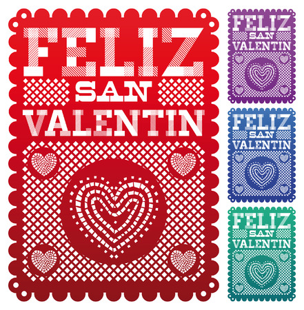 latin americans: Feliz San Valentin - Happy Valentines day spanish text - latin decoration - vector set
