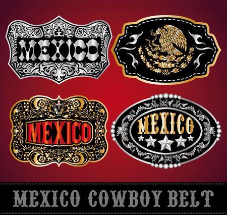spur: Mexico Cowboy belt buckle vector - master collection - set design