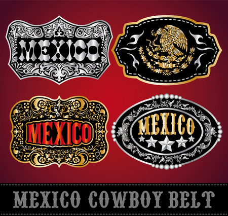Mexico Cowboy belt buckle vector - master collection - set design