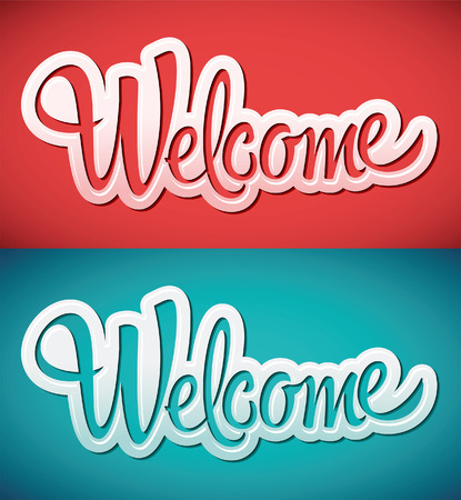 welcome sign: welcome - lettering vector