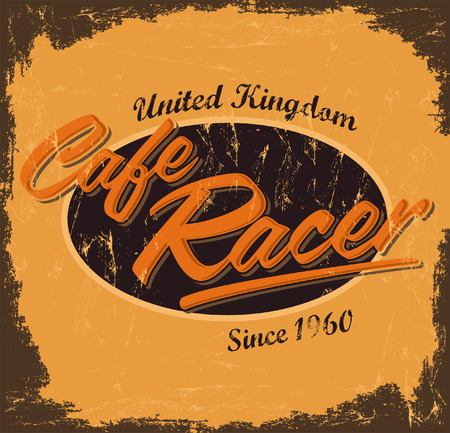 cafe racer - vintage motorcycle design - vector lettering - shirt print - Grunge texture can be easily removed Çizim