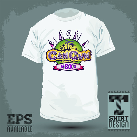 Graphic T- shirt design - Cancun Mexico - Vector illustration - shirt print  Ilustração