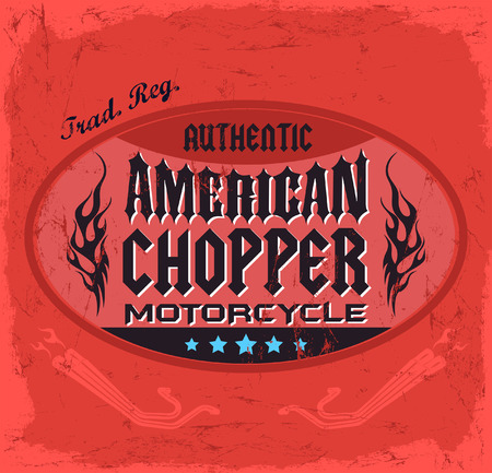 t shirt print: Insignia de American Chopper Motorcycle - el dise�o vintage - dise�o de la camiseta de impresi�n Vectores