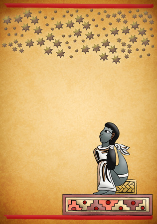 Mayan - Aztec observing the constellations in the night - illustration - Can be used in cover design, book design, advertising  Imagens