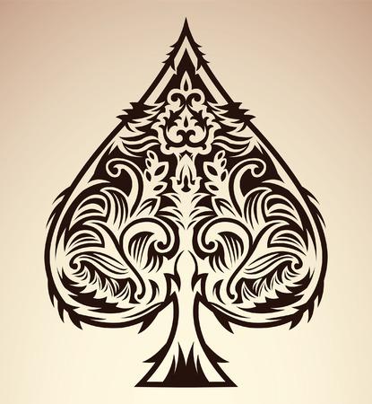 as de picas: Dise�o de estilo tribal - pala p�quer as naipes, ilustraci�n vectorial Vectores
