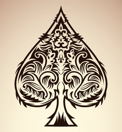 Tribal style design - spade ace poker playing cards, vector illustration Çizim