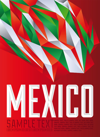 mexico background: Mexico - Vector geometric background - modern flag concept - Mexico colors