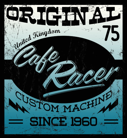 rockabilly: Cafe Racer - vintage motorcycle design - vector lettering - shirt print - Grunge texture can be easily removed