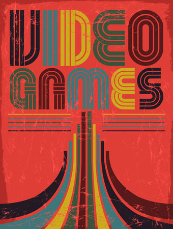 tittle: Video Games - vector lettering - poster, card - eighties video games style