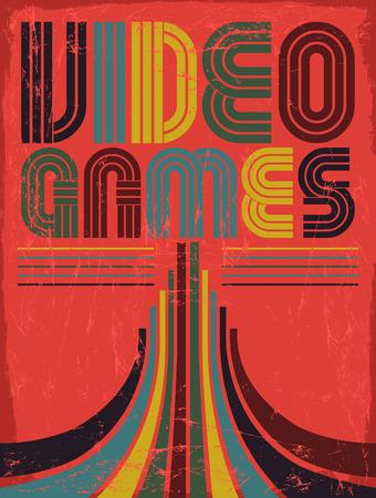 Video Games - vector belettering - poster, kaart - tachtig videospelletjes stijl