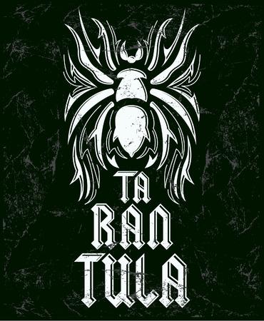 Tarantula vintage lettering design - chalkboard  Vector