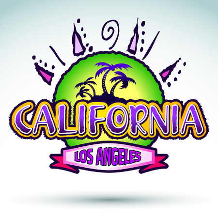 California - Los Angeles - badge - emblem - summer tropical heat print Vector