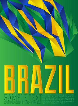 Brazil - geometric - modern flag concept - Brazilian colors