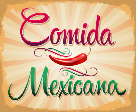 burrito: Comida Mexicana - mexican food spanish text - Vintage Mexican Food Poster illustration  Illustration