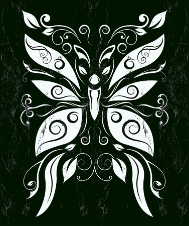 Stylized Butterfly -  chalkboard style - Grunge effects can be easily removed Stock Illustratie
