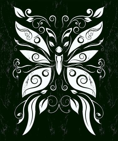 Stilizzato Butterfly - stile lavagna - effetti grunge può essere facilmente rimosso Archivio Fotografico - 26154501
