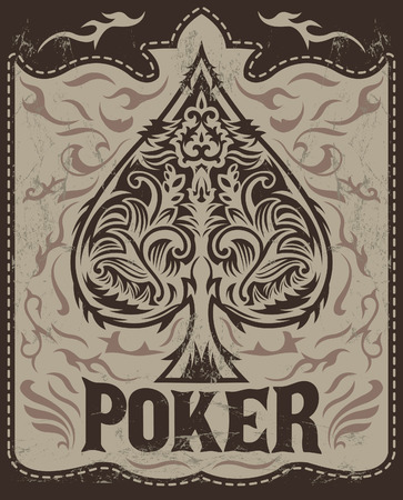 Vintage Poker badge - western style - poster - Grunge effects can be easily removed Çizim