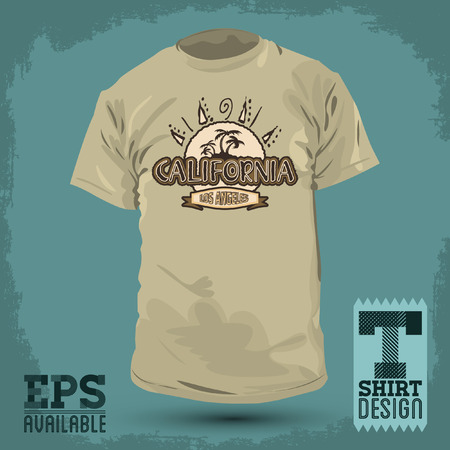 t shirt design: Graphic T- shirt design - California badge - emblem  - silkscreen - Vector illustration