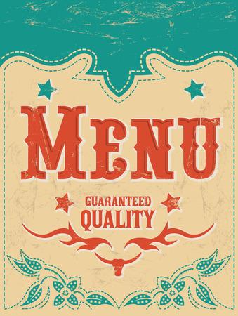 Restaurant menu design - Vintage Vector - grill - steak - western style 일러스트