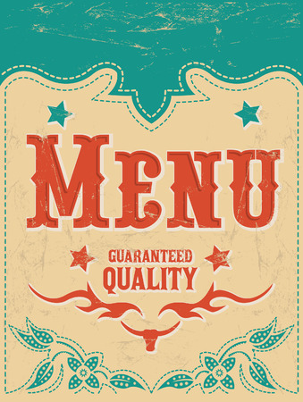 Restaurant menu design - Vintage Vector - grill - steak - western style Vectores