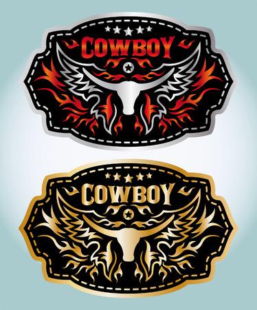 rodeo americano: Cinturón de hebilla de diseño vectorial Cowboy - longhorn Vectores