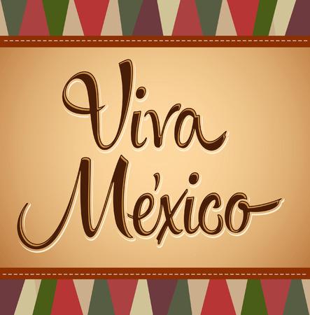 kutlamalar: Viva Meksika - Vintage meksika tatil vektör dekorasyon