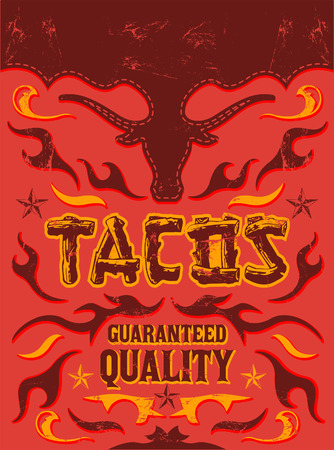 Tacos - grunge - vintage vector poster - Grunge effects can be easily removed Vector
