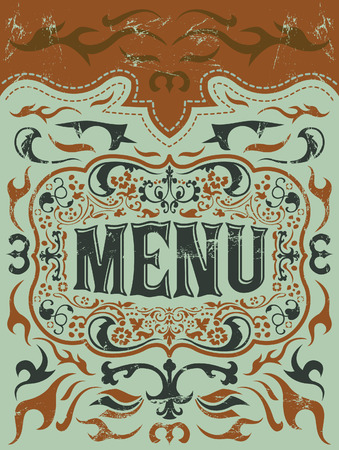 Restaurant menu design - Vintage Vector - grill - steak - western style Vector