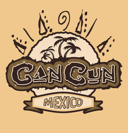 cancun: Cancun Mexico - vintage vector badge - emblem - shirt print