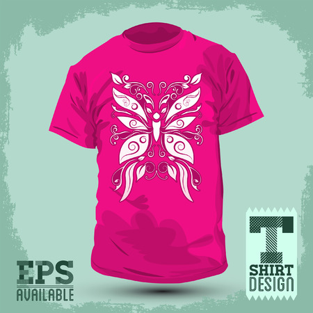 girl shirt: Pink Graphic T-shirt design - Stylized Butterfly - Vector illustration - t-shirt print