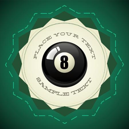 bola ocho: Bola de piscina Negro número ocho - insignia del vector - el icono Vectores