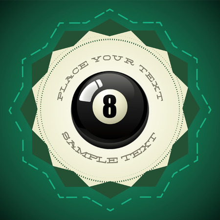Pool Black Ball number eight - vector badge - icon