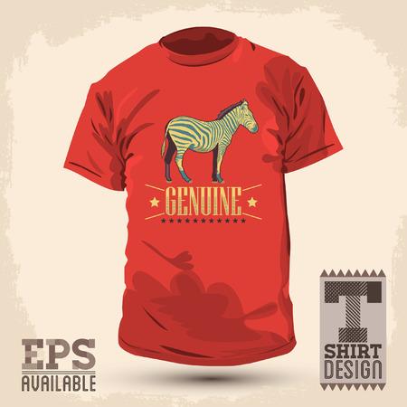 t shirt print: Dise�o Genuine Zebra vendimia camiseta - vector plantilla de dise�o de impresi�n Vectores