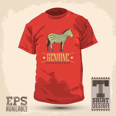 fashion design: Genuine Zebra vintage t shirt design - vector print design template