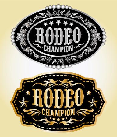 rodeo americano: Campeón Rodeo - cinturón vaquero hebilla de diseño vectorial Vectores