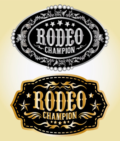 belt buckle: Rodeo Champion - cowboy belt buckle vector design