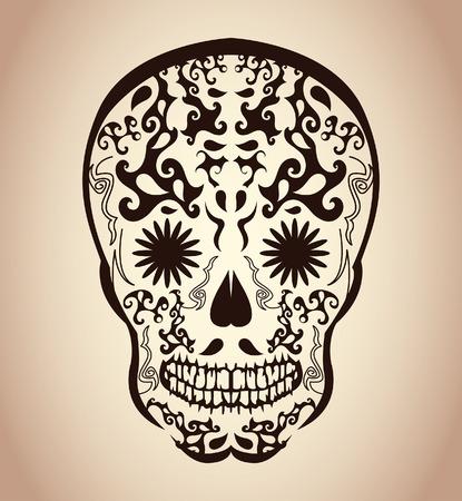 Dag van de Dode Schedel - tatoegeringsschedel - calavera Stock Illustratie