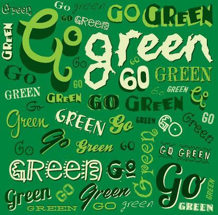 Go Green Eco Word background vector Illustration  Illustration