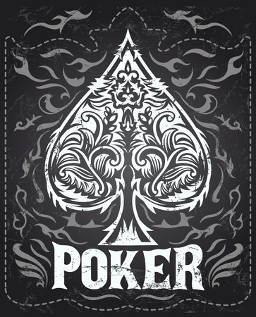 Dark Vintage Poker badge - western style - vector poster - Grunge effects can be easily removed
